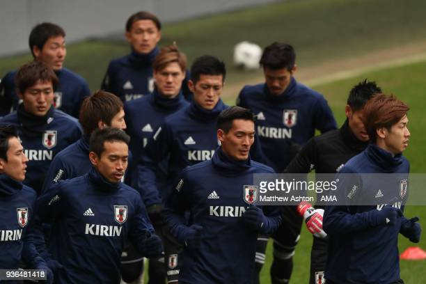 Tomoaki Makino of Japan during the Japan Training Session at Stade Maurice Dufrasne on March 22 2018 in Liege Belgium