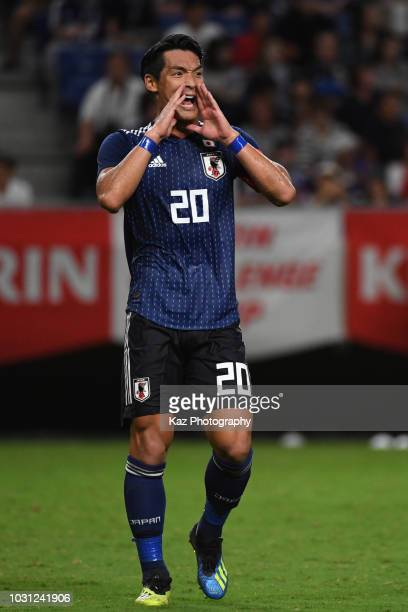 Tomoaki Makino of Japan gives the shout to his teammates during the international friendly match between Japan and Costa Rica at Suita City Football...