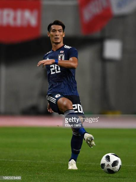Tomoaki Makino of Japan in action during the international friendly match between Japan and Panama at Denka Big Swan Stadium on October 12 2018 in...