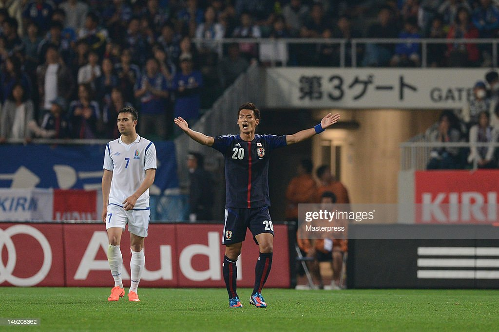 Tomoaki Makino of Japan in action during the international friendly match between Japan and Azerbaijan at Ecopa Stadium on May 23, 2012 in Kakegawa, Japan.