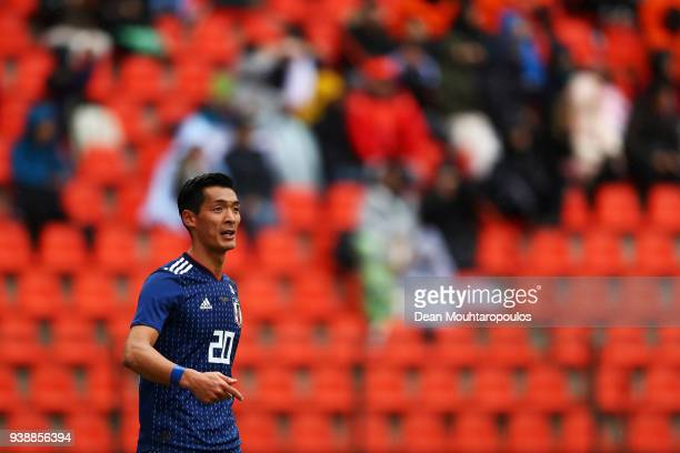 Tomoaki Makino of Japan in action during the International friendly match between Japan and Ukraine held at Stade Maurice Dufrasne on March 27 2018...