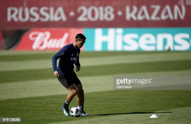 Tomoaki Makino of Japan in action during the Japan Training Session on June 16 2018 in Kazan Russia