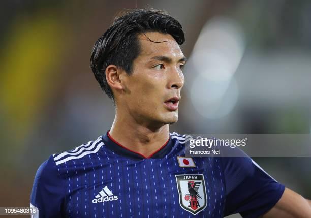 Tomoaki Makino of Japan looks on after the AFC Asian Cup Group F match between Japan and Uzbekistsn at Khalifa Bin Zayed Stadium on January 17 2019...