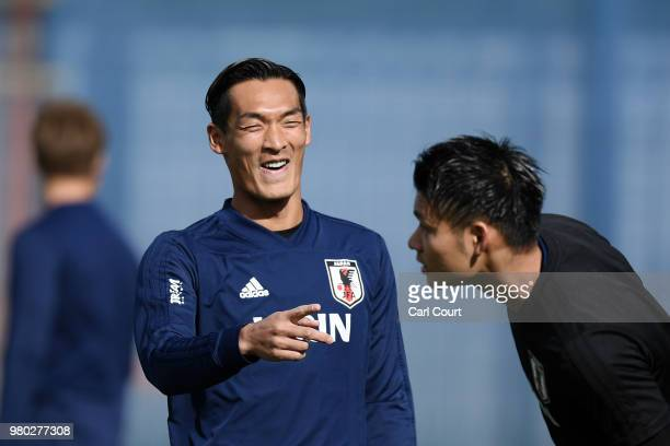 Tomoaki Makino of Japan looks on during the Japan Training Session on June 21 2018 in Kazan Russia