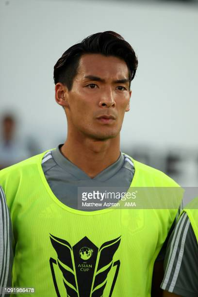 Tomoaki Makino of Japan looks on prior to the AFC Asian Cup final match between Japan and Qatar at Zayed Sports City Stadium on February 1 2019 in...