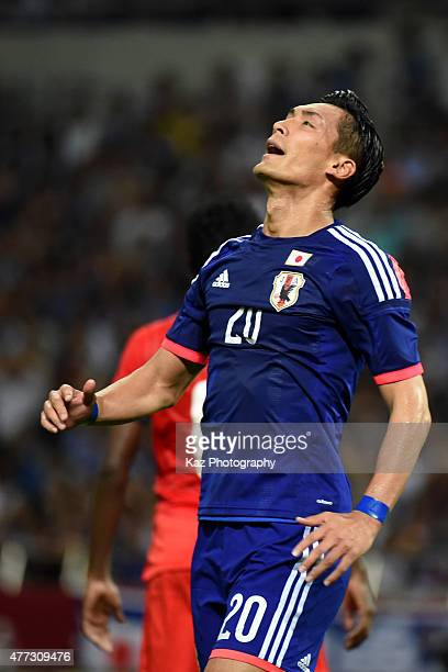 Tomoaki Makino of Japan misses a chance during the 2018 FIFA World Cup Asian Qualifier second round match between Japan and Singapore at Saitama...