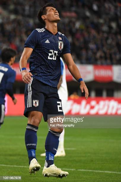 Tomoaki Makino of Japan misses the chance during the international friendly match between Japan and Panama at Denka Big Swan Stadium on October 12...
