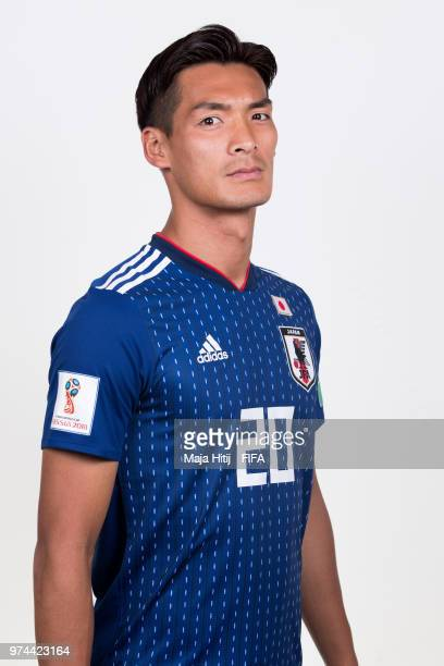 Tomoaki Makino of Japan poses for a portrait during the official FIFA World Cup 2018 portrait session at the FC Rubin Training Grounds on June 14...