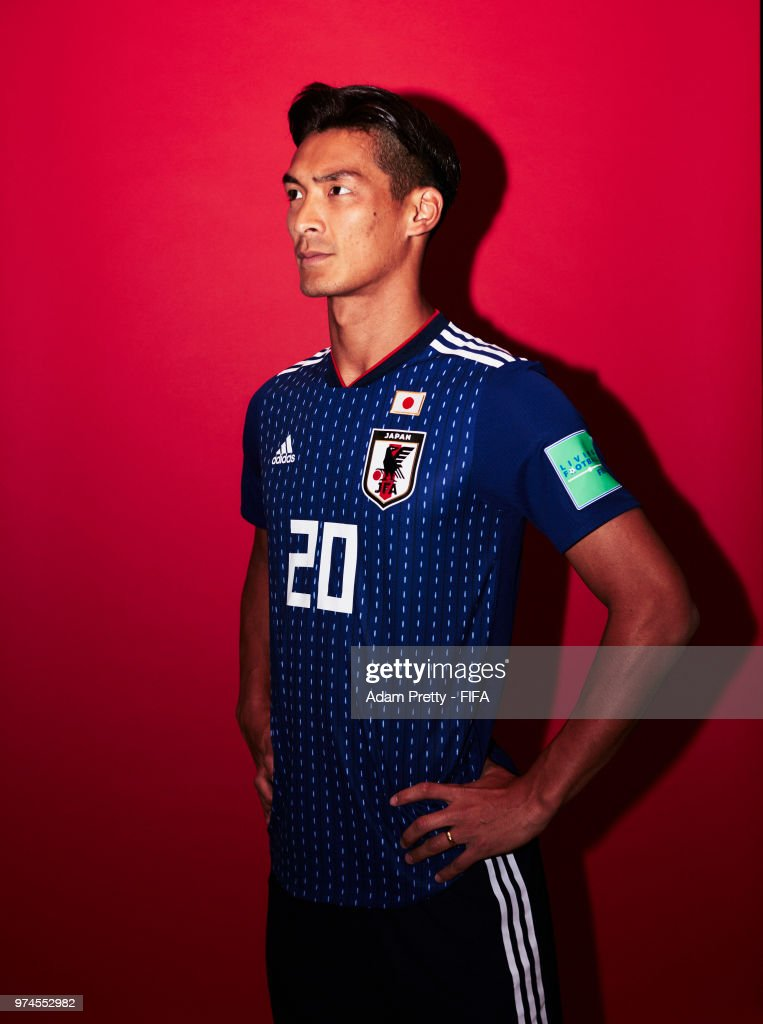 Tomoaki Makino of Japan poses for a portrait during the official FIFA World Cup 2018 portrait session at the FC Rubin Training Grounds on June 14, 2018 in Kazan, Russia.