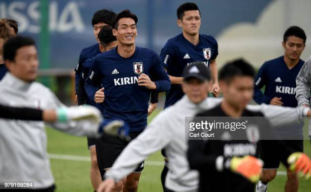 Tomoaki Makino of Japan runs on during a Japan training session during the 2018 FIFA World Cup at the FC Rubin Training Ground on June 20 2018 in...
