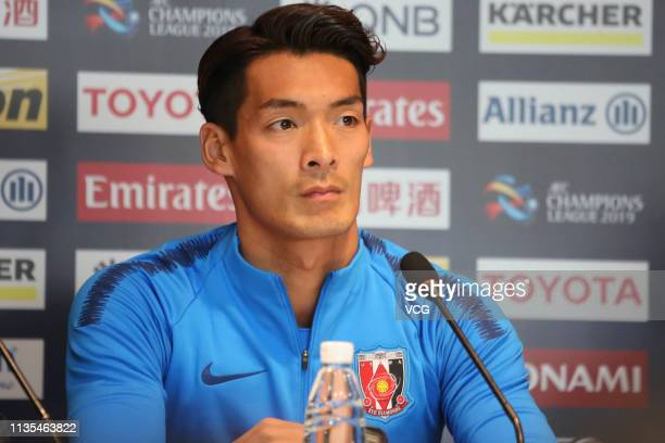 Tomoaki Makino of Urawa Red Diamonds attends a press conference ahead of the 2019 AFC Champions League Group G match between Beijing Guoan and Urawa...