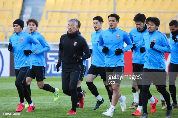 Tomoaki Makino of Urawa Red Diamonds attends a training session ahead of the 2019 AFC Champions League Group G match between Beijing Guoan and Urawa...