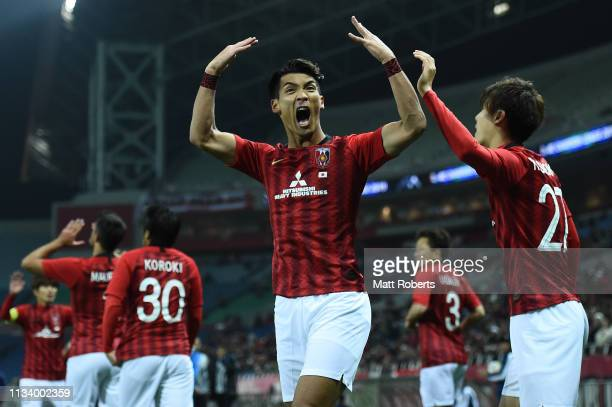 Tomoaki Makino of Urawa Red Diamonds celebrates scoring a goal during the AFC Champions League Group G match between Urawa Red Diamonds and Buriram...