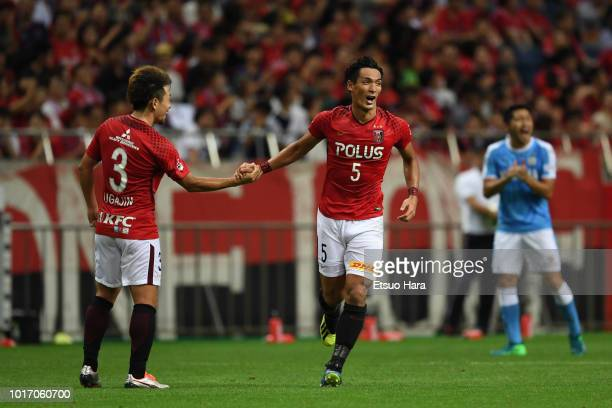 Tomoaki Makino of Urawa Red Diamonds celebrates scoring his side's third goal during the JLeague J1 match between Urawa Red Diamonds and Jubilo Iwata...