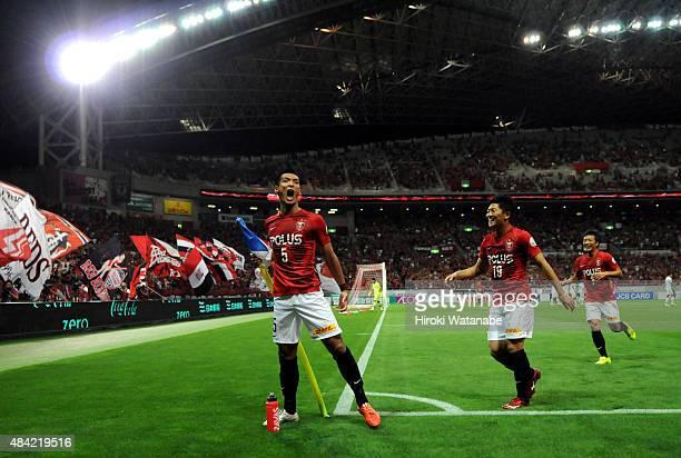 Tomoaki Makino of Urawa Red Diamonds celebrates scoring his team's first goal during the J.League match between Urawa Red Diamonds and Shonan...