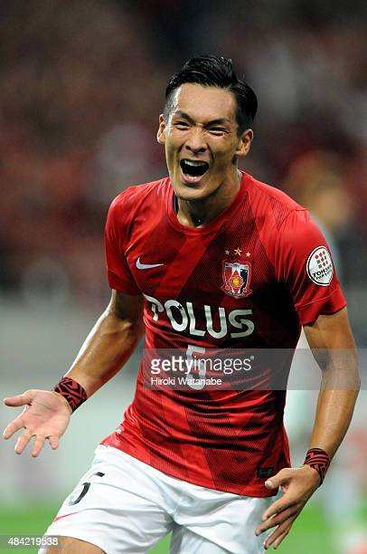 Tomoaki Makino of Urawa Red Diamonds celebrates scoring his team's first goal during the JLeague match between Urawa Red Diamonds and Shonan Bellmare...