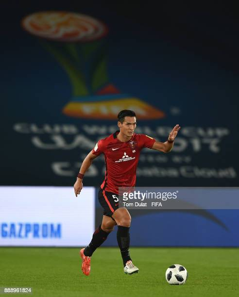 Tomoaki Makino of Urawa Red Diamonds in action during the FIFA Club World Cup UAE 2017 match between Al Jazira and Urawa Red Diamonds at Zayed Sports...