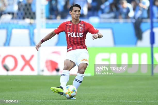 Tomoaki makino of Urawa Red Diamonds in action during the Fuji Xerox Super Cup between Kawasaki Frontale and Urawa Red Diamonds at Saitama Stadium on...