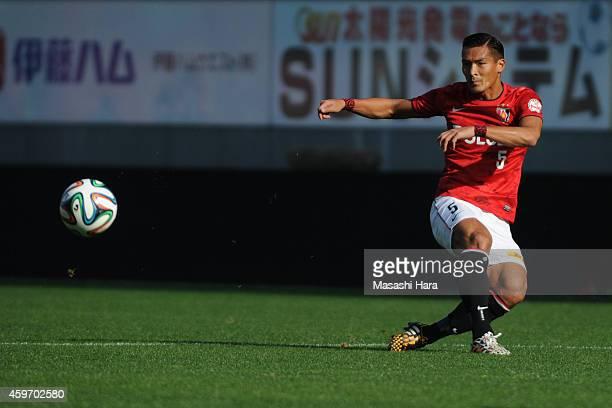 Tomoaki Makino of Urawa Red Diamonds in action during the JLeague match between Sagan Tosu and Urawa Red Diamonds at Best Amenity Stadium on November...