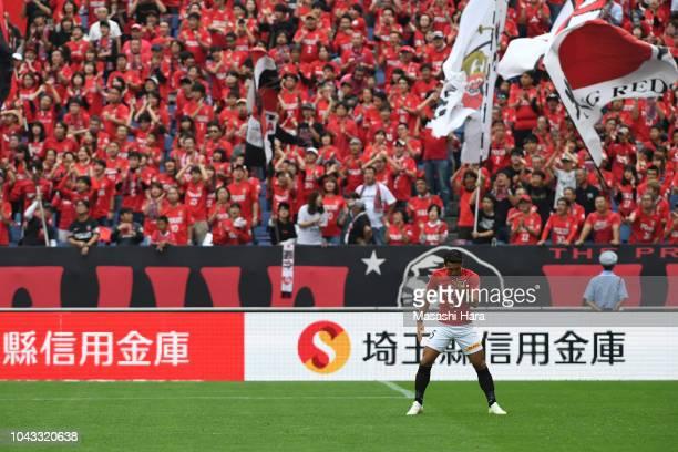 Tomoaki Makino of Urawa Red Diamonds look on prior to the JLeague J1 match between Urawa Red Diamonds and Kashiwa Reysol at Saitama Stadium on...