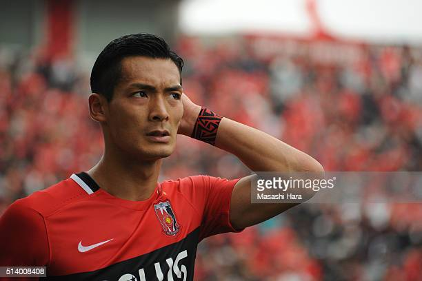 Tomoaki Makino of Urawa Red Diamonds looks on after the JLeague match between Urawa Red Diamonds and Jubilo Iwata at Saitama Stadium on March 6 2016...