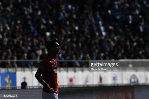 Tomoaki makino of Urawa Red Diamonds looks on during the Fuji Xerox Super Cup between Kawasaki Frontale and Urawa Red Diamonds at Saitama Stadium on...