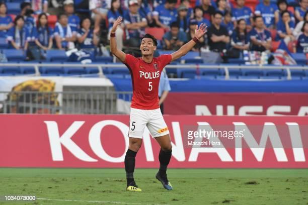 Tomoaki makino of Urawa Red Diamonds looks on during the JLeague J1 match between Yokohama FMarinos and Urawa Red Diamonds at Nissan Stadium on...