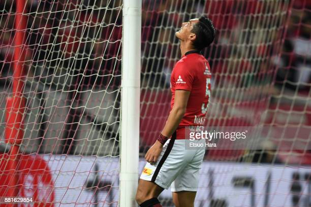 Tomoaki Makino of Urawa Red Diamonds reacts after missing a chance during the JLeague J1 match between Urawa Red Diamonds and Kawasaki Frontale at...