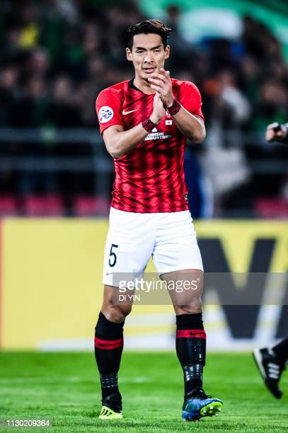 Tomoaki Makino of Urawa Red Diamonds reacts during the AFC Champions League Group G match between Beijing Guoan and Urawa Red Diamonds Workers'...