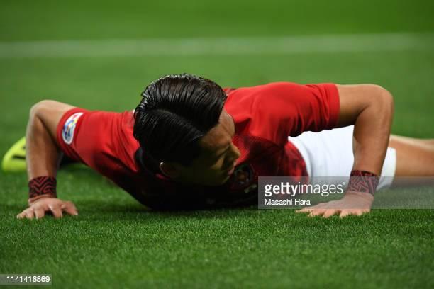 Tomoaki Makino of Urawa Red Diamonds reacts during the AFC Champions League Group G match between Urawa Red Diamonds and Jeonbuk Hyundai Motors at...