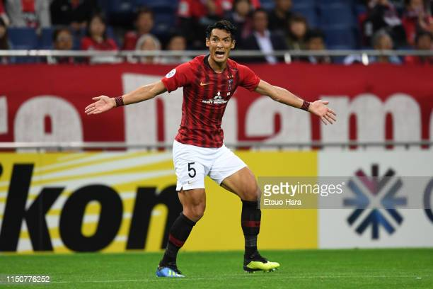 Tomoaki Makino of Urawa Red Diamonds reacts during the AFC Champions League Group G match between Urawa Red Diamonds and Beijing Guoan at Saitama...