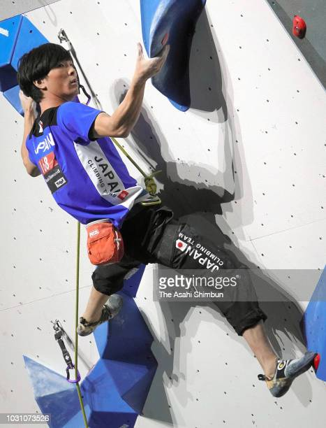 Tomoaki Takata of Japan competes in the Men's Lead final on day five of the IFSC Climbing World Championships on September 10 2018 in Innsbruck...