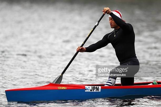 Tomoaki Yuasa of Japan looks on before he competes in the C1 M 1000 during Day 1 of the ICF Canoe Sprint World Cup 1 held at Sportpark Regattabahn on...