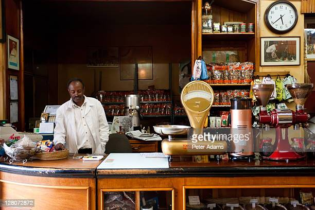 tomoca coffee shop, addis ababa, ethiopia - addis ababa stock pictures, royalty-free photos & images