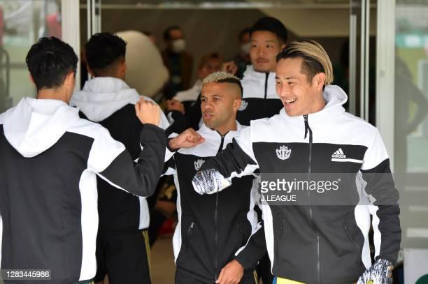 Tomohiko MURAYAMA of Matsumoto Yamaga and his teammates elbow bumps prior to the J.League Meiji Yasuda J2 match between Matsumoto Yamaga and Renofa...
