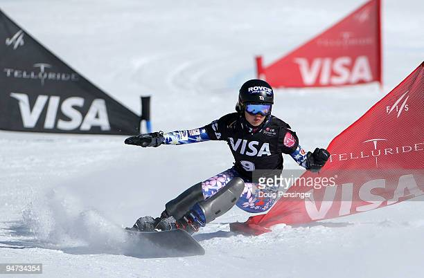 Tomoka Takeuchi of Japan races in the FIS Snowboard Parallel Giant Slalom World Cup on December 17 2009 in Telluride Colorado