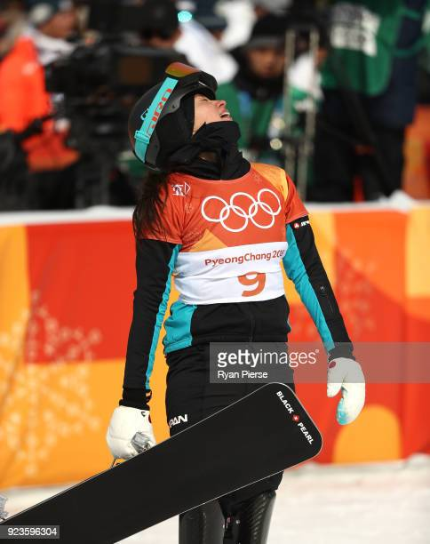Tomoka Takeuchi of Japan reacts after her run during the Ladies' Parallel Giant Slalom Quarter Final Run on day fifteen of the PyeongChang 2018...