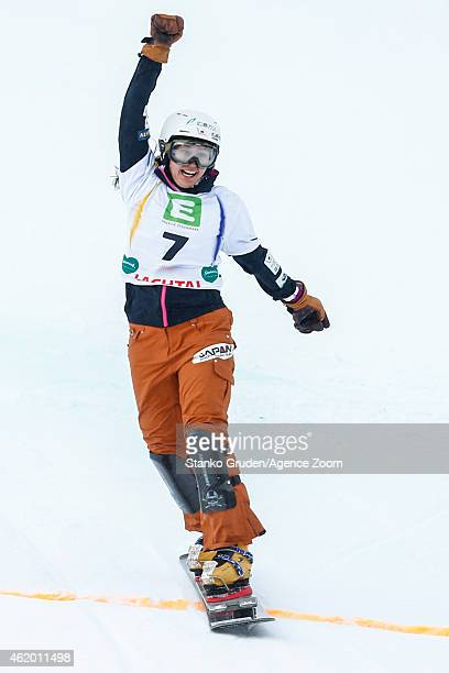 Tomoka Takeuchi of Japan takes 3rd place during the FIS Snowboard World Championships Men's and Women's Parallel Giant Slalom on January 23 2015 in...