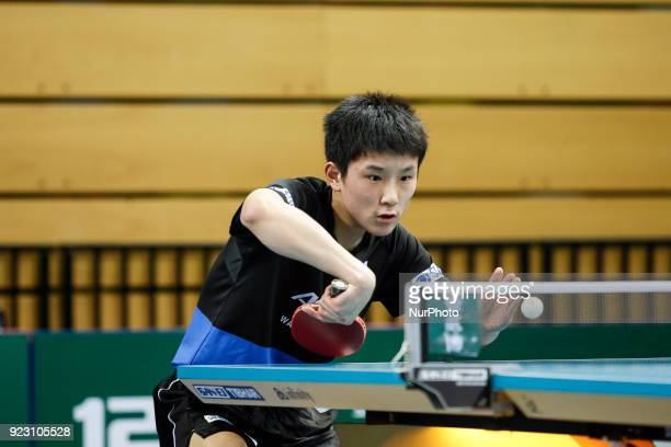 Tomokazu Harimoto age 14 from Japan on the first day of ITTF Team Table Tennis World Cup on February 22 2018 in Olympic Park in London 12 teams...