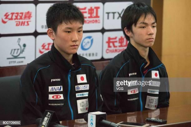Tomokazu Harimoto and Koki Niwa of Japan attend a press conference after Men's doubles final match against Maharu Yoshimura and Jin Ueda of Japan...