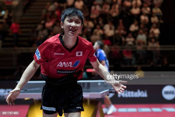 Tomokazu Harimoto celebrate after winning Men's Singles against Lubomir Pistej of Slovakia at Table Tennis World Championship at Messe Duesseldorf on...