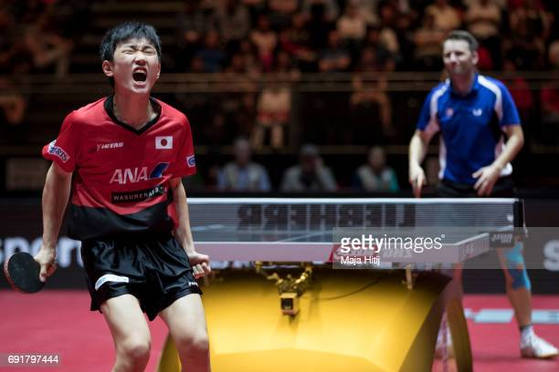 Tomokazu Harimoto celebrate during Men's Singles against Lubomir Pistej of Slovakia at Table Tennis World Championship at Messe Duesseldorf on June 3...