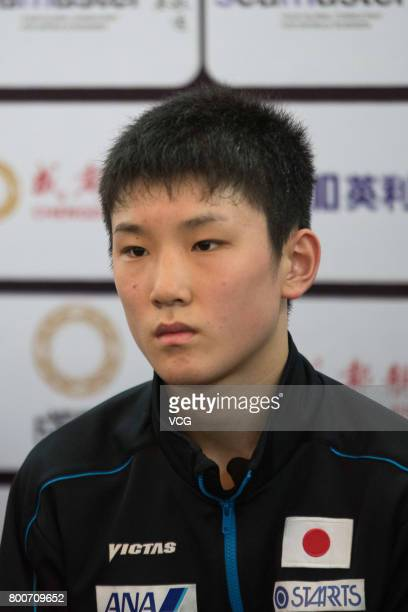 Tomokazu Harimoto of Japan attends a press conference after Men's doubles final match of 2017 ITTF World Tour China Open at Sichuan Provincial...
