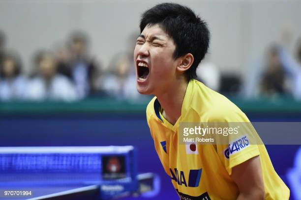 Tomokazu Harimoto of Japan celebrates against Jike Zhang of China during the men's final on day three of the ITTF World Tour LION Japan Open Ogimura...