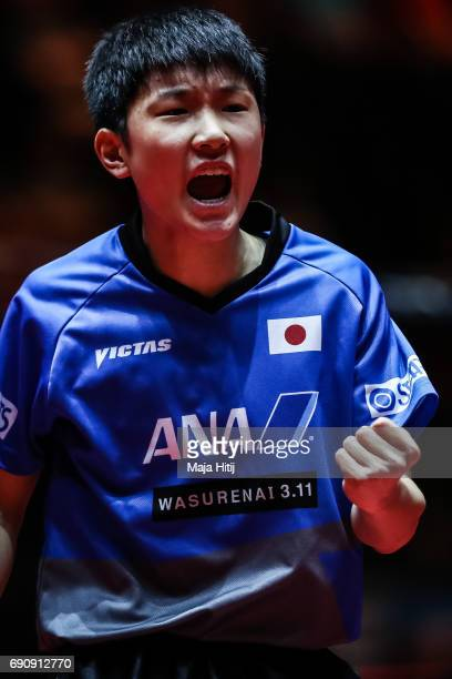 Tomokazu Harimoto of Japan celebrates during Men Single 1 Round at Table Tennis World Championship at Messe Duesseldorf on May 31 2017 in Dusseldorf...
