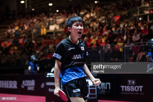 Tomokazu Harimoto of Japan celebrates during Men's Singles at Table Tennis World Championship at Messe Duesseldorf on June 2 2017 in Dusseldorf...