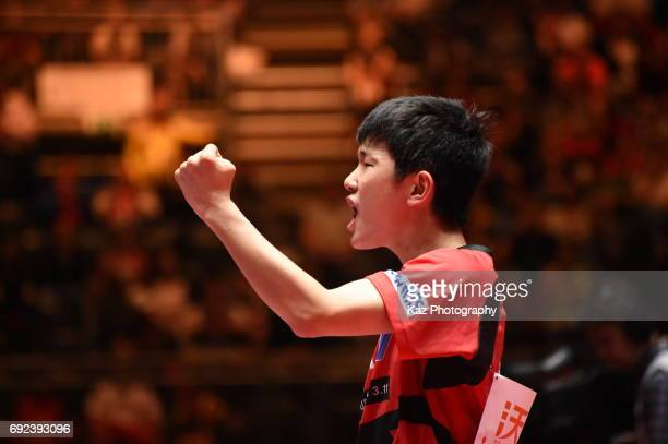 Tomokazu Harimoto of Japan celebrates the point at Messe Duesseldorf on June 4 2017 in Dusseldorf Germany