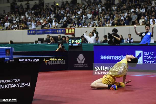 Tomokazu Harimoto of Japan celebrates victory against Sangsu Lee of South Korea during the men's semifinal match on day three of the ITTF World Tour...