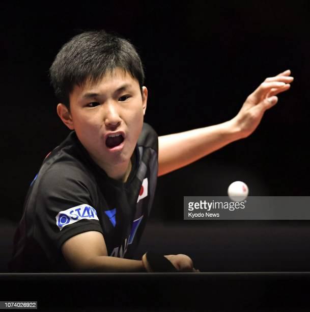 Tomokazu Harimoto of Japan competes against Brazil's Hugo Calderano in an ITTF World Tour Grand Finals semifinal match in Incehon South Korea on Dec...