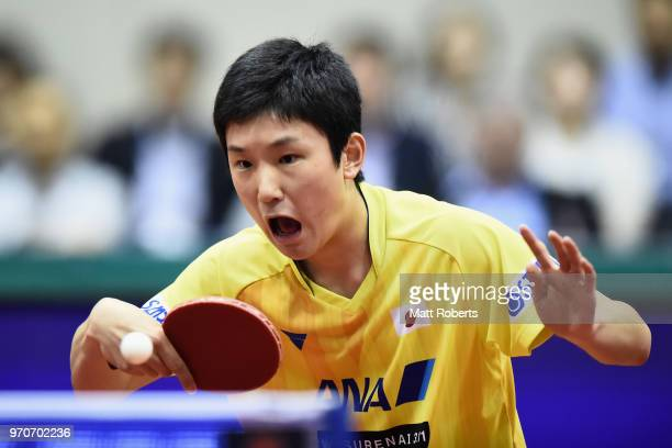 Tomokazu Harimoto of Japan competes against Jike Zhang of China during the men's final on day three of the ITTF World Tour LION Japan Open Ogimura...